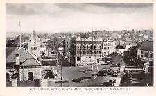 Nanaimo BC~Church Street~Hotel Plaza~Post Office~Clock Tower~1940s Cars~RPPC