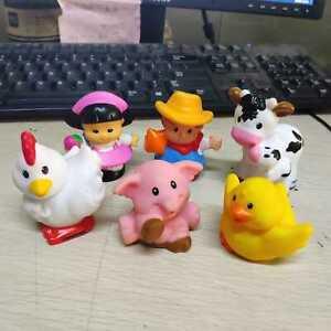 6pcs Fisher Price Little People Farm Barn Animals Farmer Hen Duck Pig Cow Calf