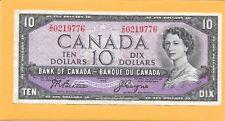 1954 CANADIAN 10 DOLLAR BILL Z/D0219776 NICE (CIRCULATED)