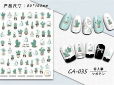 Buy 2 Get 1 Free, Summer Green Cactus Decals 3D Nail Art Sticker for Gel Polish
