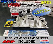 Edelbrock 2701 Perf EPS Intake SB Chevy w/ FREE ARP Bolts & Fel-Pro Gaskets