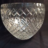 Vintage clear cut lead crystal diamond pattern; heavy glass bowl   ( A )