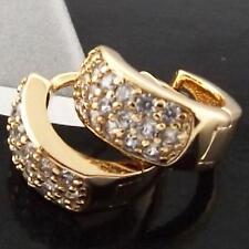 FS930 GENUINE 18K YELLOW G/F GOLD SOLID DIAMOND SIMULATED HUGGIE HOOP EARRINGS