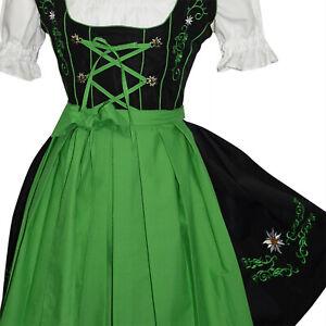 German Waitress Dirndl Dress Oktoberfest Bavarian Trachten Party 3pc XS S M L XL