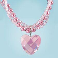 PINK AURORA BOREALIS CRYSTAL HEART RHINESTONE NECKLACE new PEARLS REG $40