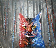 100%HAND-PAINTED ART ACRYLIC OIL PAINTING ABSTRACT Animal forest cat 40x50cm