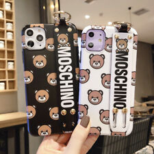 New Cartoon MOSCHINO bear Bracket Cover Case For iPhone 11 Pro 7 8Plus XR X/XS