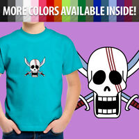 One Piece Shanks Red Hair Jolly Roger Pirate Skull Unisex Kids Tee Youth T-Shirt