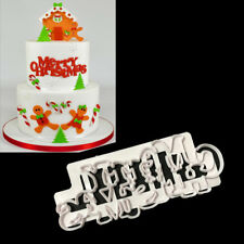 Merry Christmas Cake Cutter Fondant Icing Biscuit Paste Sugarcraft Decor Mould