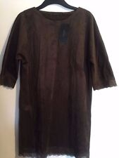 NWT Zara Women Basic Collection Brown Suede Embroidery Lace Dress M
