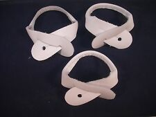 New, White Leather Suspenders / Braces, Button-on Replacement Straps, Set of 3