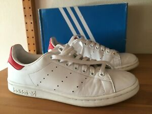 Chaussures Adidas Stan Smith 41 1/3 (US 8) Blanc/Rouge pour Homme OCCASION (TBE)