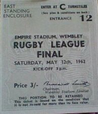 HUDDERSFIELD v WAKEFIELD 1962 RUGBY LEAGUE CUP FINAL MATCH TICKET SUPERB