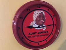 Aunt Jemima Pancake Syrup Sambo Mammy Diner Kitchen Red Wall Clock Sign