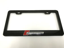 """3D""""SUPERCHARGED"""" Handmade REAL CARBON FIBER License Plate Frame Tag 3K TWILL#1"""