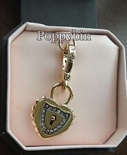 BRAND NEW!! JUICY COUTURE HEART PADLOCK w/CRYSTAL BRACELET CHARM IN TAGGED BOX