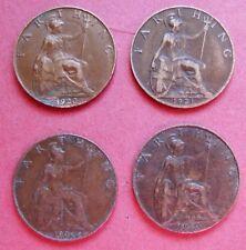 4 x COINS  1920 - 1923 KING GEORGE V  DATE RUN  BRITISH FARTHINGS   GOOD GRADES