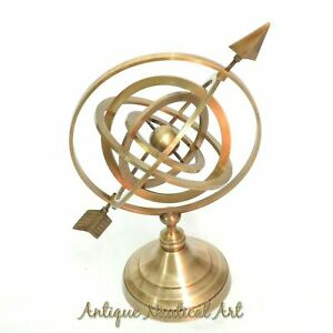 Antique Style World Globe Armillary Arrow Ring Home Decorative Item Gift