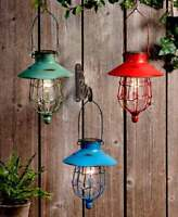 RUSTIC DISTRESSED FINISH HANGING SOLAR LED LIGHTED CAGED LANTERN LIGHT 3 COLORS