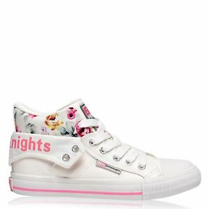 British Knights Womens Roco Canvas Hi Top Trainers High Lace Up Padded Ankle