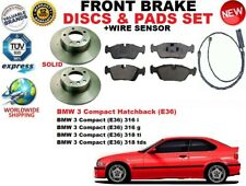 FOR BMW 3 E36 COMPACT HATCHBACK SOLID FRONT BRAKE DISCS SET + PADS KIT + SENSOR