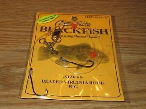 12 BLACKFISH TAUTOG FISHING RIGS TIDE RITE R451-6 BEADED VIRGINIA 2 HOOK RIG