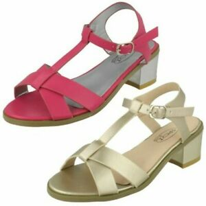 Girls Spot On Block Heel Synthetic Sandals