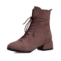 Womens Low Heel Ankle Boots Lace Up Mid Calf Flat Casual Party Shoes Mode