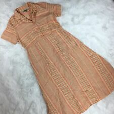 Flax Linen Maxi Dress Women's Size Small Orange Striped Short Sleeve