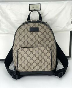 Gucci Zip Pocket GG Supreme Coated Canvas Small Black Backpack Authentic B389
