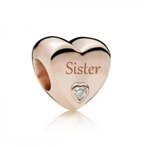 S925 Silver & Rose Gold Family Love - Sister Heart Charm  by YOUnique Designs