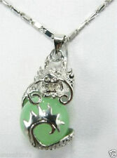 """Natural Light Green Jade Dragon Ball White Silver Plated Pendant +chain 17""""AAA"""
