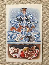 USSR Russia New Year postcard bears in a den 1968