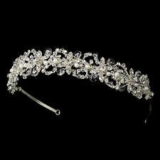 Swarovski Crystal Freshwater Pearl Silver Rhinestone Bridal Prom Tiara Headband