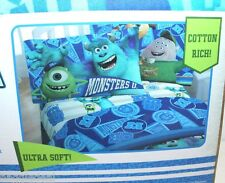 DISNEY PIXAR MONSTER UNIVERSITY TWIN SHEET  3 PIECE BED SET COTTON RICH BEDSHEET