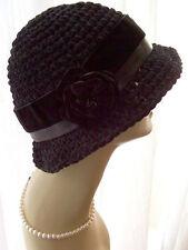 NWT Brown or Black Warm Handmade Cloche Flapper Hat Velvet Rose