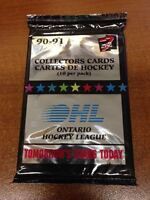 1990-91 7th Inning Stretch OHL Hockey - 3 Packs Of Cards - 10 Cards per Pack