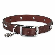Bond & Co. Brown Leather Bone Stud Dog Collar, For Neck Sizes 18-21, Large / XL