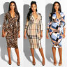 UK Women Long Sleeve Bandage Midi Dress Ladies Party Work Office Bodycon Dress