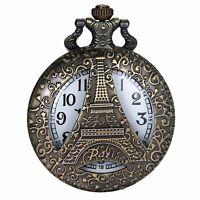 Retro Antique Analog Quartz Pocket Watch TowerPattern Bronze Necklace Pendant