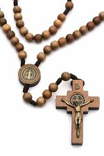 Large St Benedict Rosary Catholic Intercession Beads Brown Wood Cord Men Women