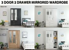 Ash or Oak Effect 3 Door 2 Drawer Triple Large Mirrored Combi Wardrobes