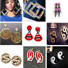 Women Round Leaf Bikini Girl Number Lip Big Acrylic Large Stud Earrings Jewelry
