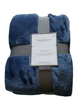 Threshold Microplush Blanket Metallic Blue Twin New Standard 66 in x 90 in
