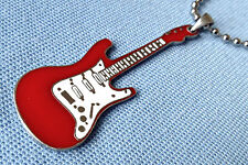RED ELECTRIC GUITAR PEWTER PENDANT MENS BOYS GIRLS NECKLACE CHAIN   PC0147