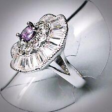 Brillant Amethyst Baguette Weißtopas Cluster Ring 925er rhodiniert 15,9 mm