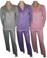 Women Ladies Button Pyjamas Sets Long Sleeve Collar Pocket Nightwear Soft PJ's