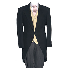 Oro negro de 3 Piezas Frac Boda Marfil Chaleco de diamantes y rayas Pantalones