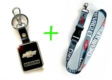2 in 1 Combo CHEVROLET CHEVY Gray Lanyard and Leather Black Key Chain