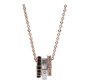 New Authentic SWAROVSKI Rose Gold Crystal 3 Rings Pendant Necklace 5353666